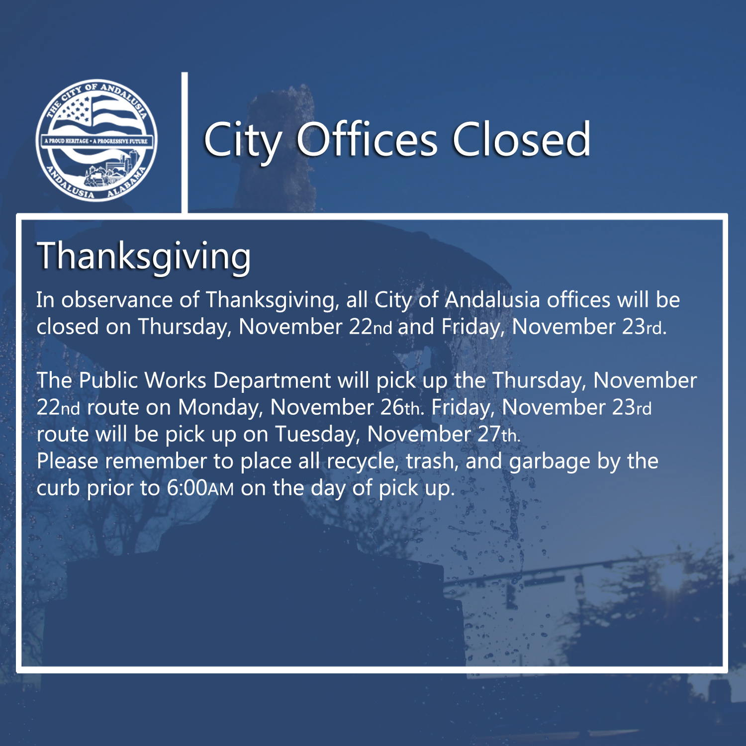 Facebook City Offices Closed Thanksgiving