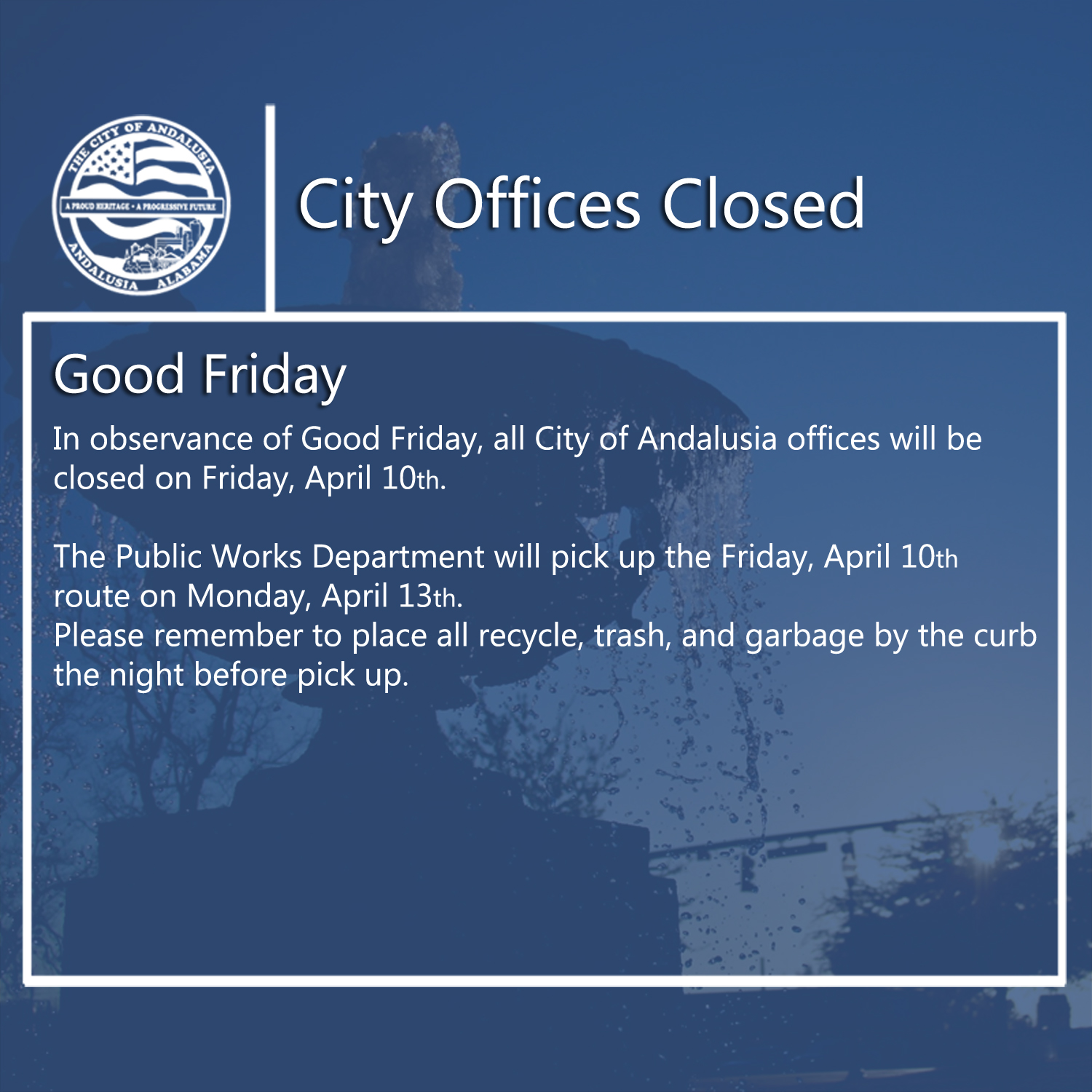 Facebook City Offices Closed April 10th