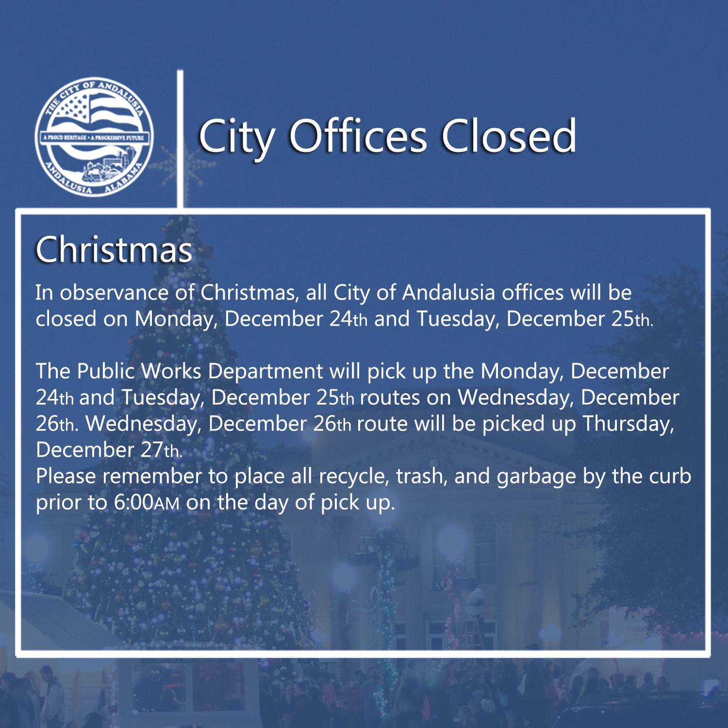 Facebook City Offices Closed Christmas 2018