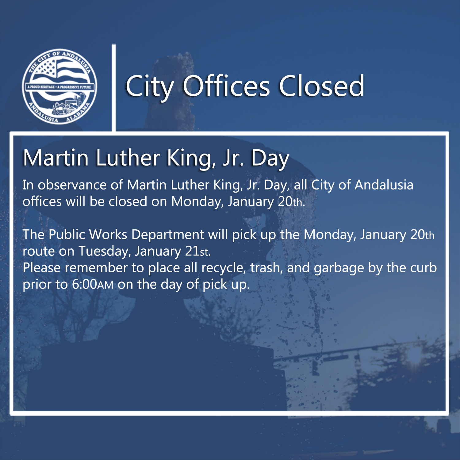 Facebook City Offices Closed Jan 20th