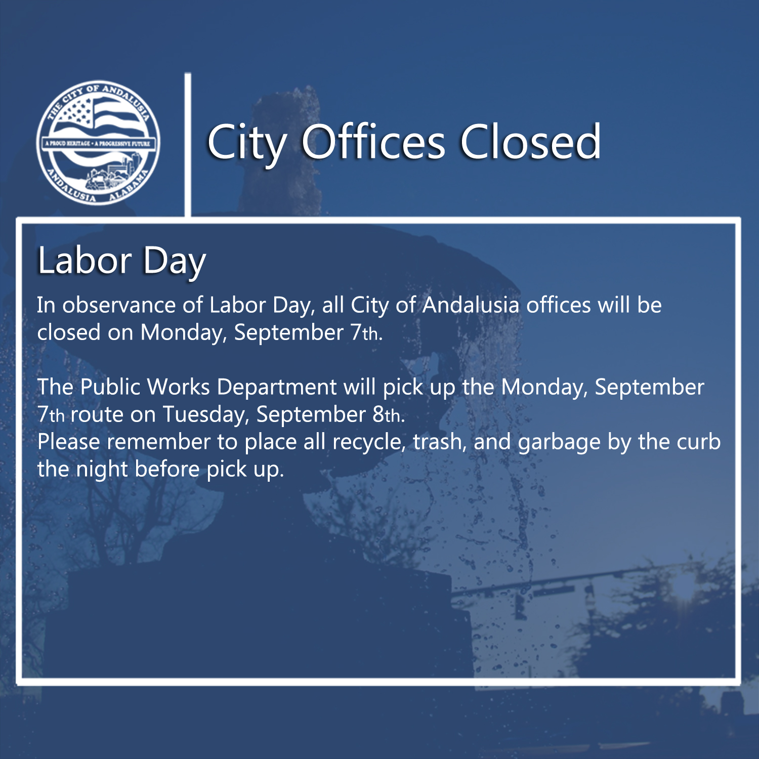 Facebook City Offices Closed Sept. 7th
