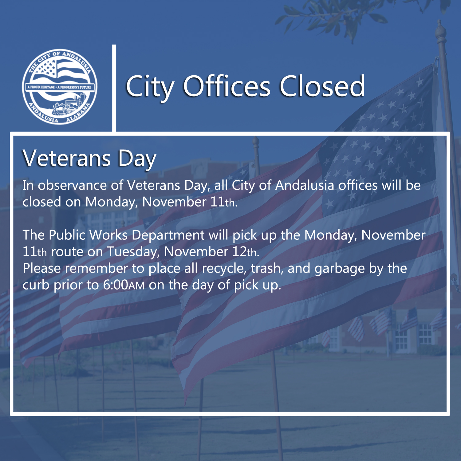 Facebook City Offices Closed Veterans