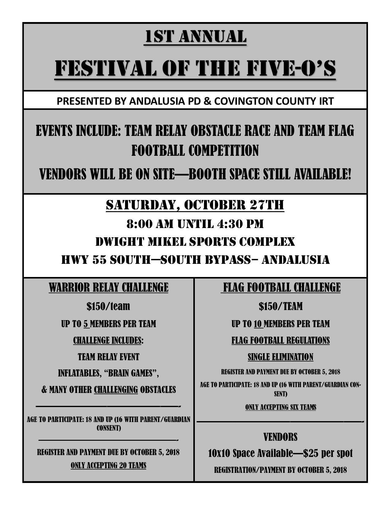 Festival of FiveOs Flyer 2018