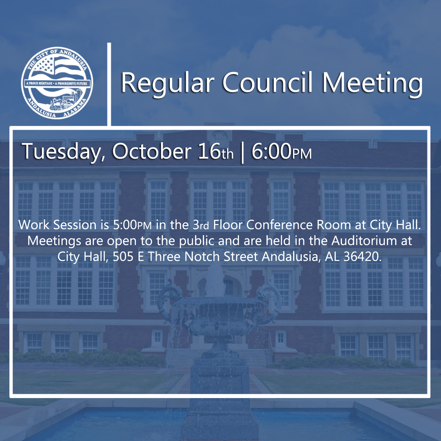 Website Regular Council Meeting October 16